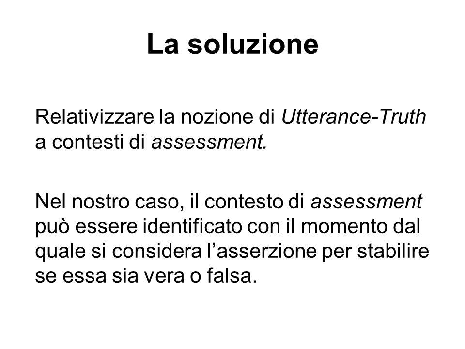 La soluzione Relativizzare la nozione di Utterance-Truth a contesti di assessment.