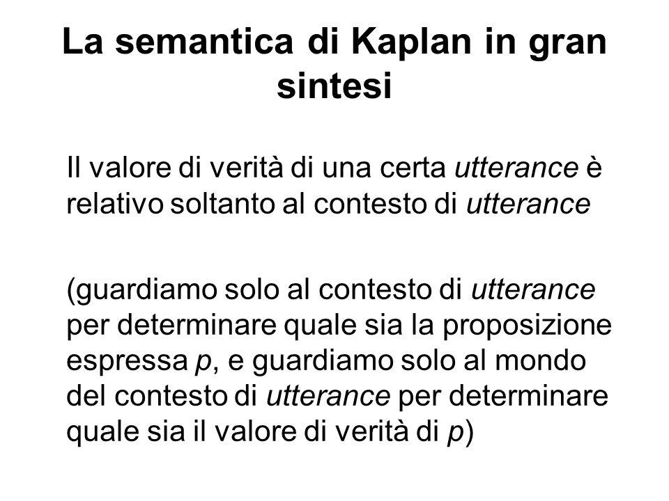 La semantica di Kaplan in gran sintesi Il valore di verità di una certa utterance è relativo soltanto al contesto di utterance (guardiamo solo al contesto di utterance per determinare quale sia la proposizione espressa p, e guardiamo solo al mondo del contesto di utterance per determinare quale sia il valore di verità di p)