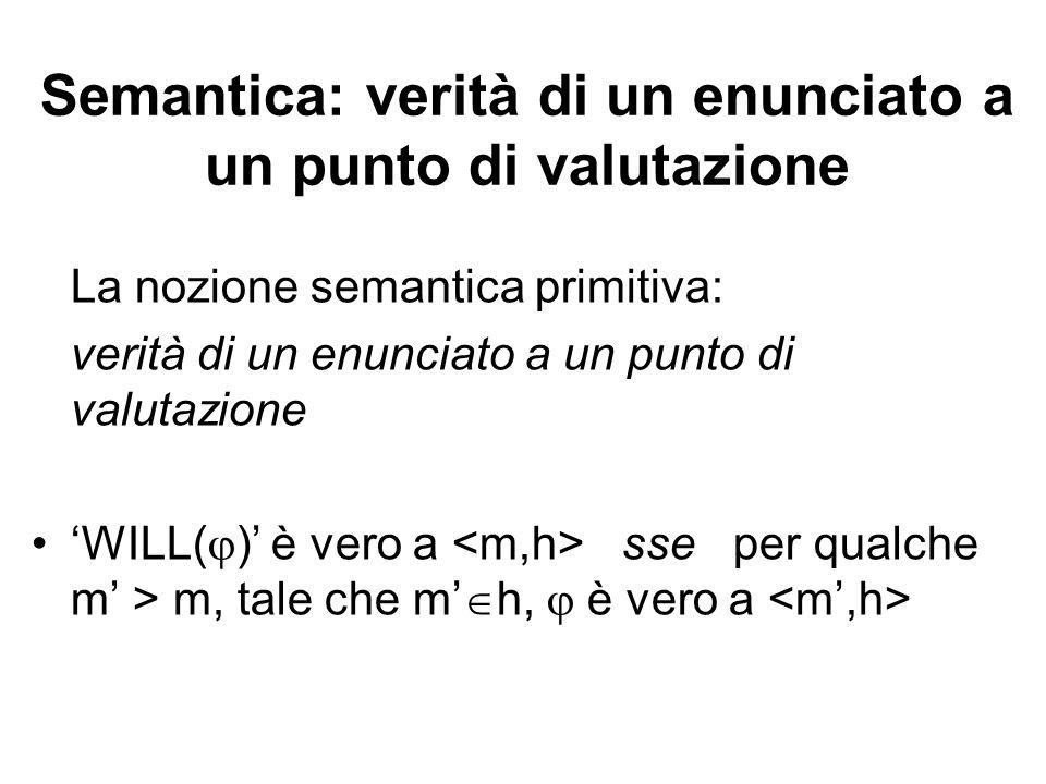 Semantica: verità di un enunciato a un punto di valutazione La nozione semantica primitiva: verità di un enunciato a un punto di valutazione WILL( ) è vero a sse per qualche m > m, tale che m h, è vero a