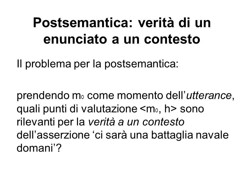 Postsemantica: verità di un enunciato a un contesto Il problema per la postsemantica: prendendo m 0 come momento dellutterance, quali punti di valutazione sono rilevanti per la verità a un contesto dellasserzione ci sarà una battaglia navale domani