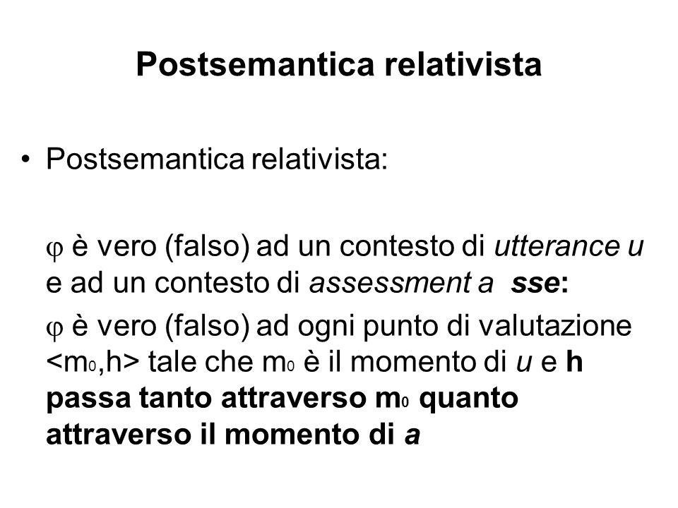 Postsemantica relativista Postsemantica relativista: è vero (falso) ad un contesto di utterance u e ad un contesto di assessment a sse: è vero (falso) ad ogni punto di valutazione tale che m 0 è il momento di u e h passa tanto attraverso m 0 quanto attraverso il momento di a
