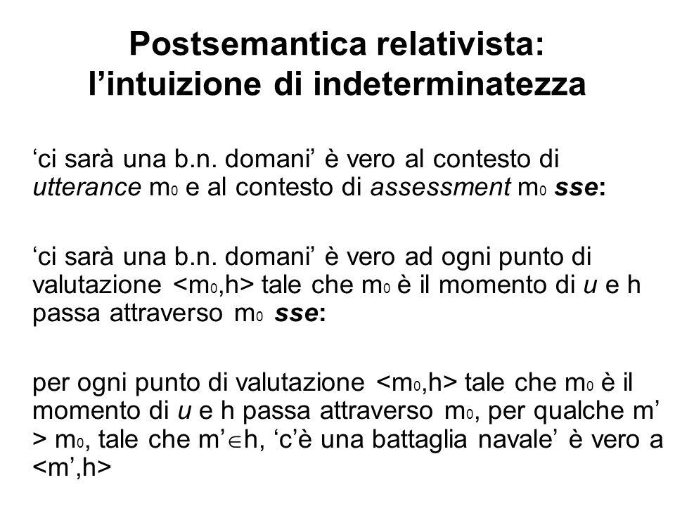 Postsemantica relativista: lintuizione di indeterminatezza ci sarà una b.n.