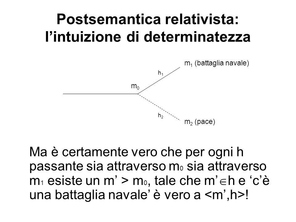Postsemantica relativista: lintuizione di determinatezza Ma è certamente vero che per ogni h passante sia attraverso m 0 sia attraverso m 1 esiste un m > m 0, tale che m h e cè una battaglia navale è vero a .