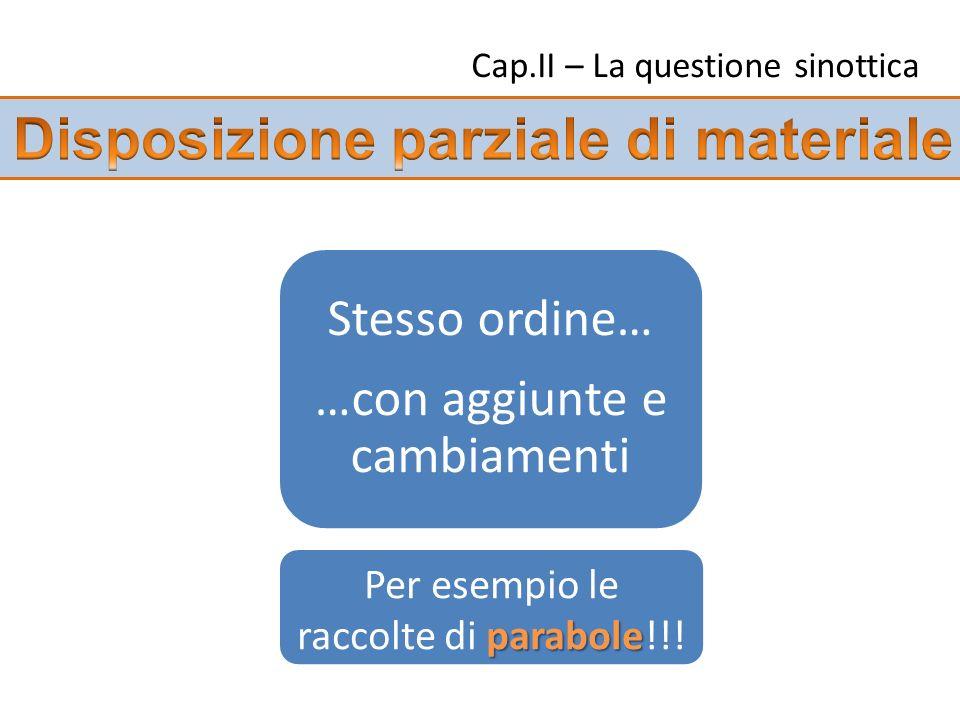 Cap.II – La questione sinottica Stesso ordine… …con aggiunte e cambiamenti parabole Per esempio le raccolte di parabole!!!