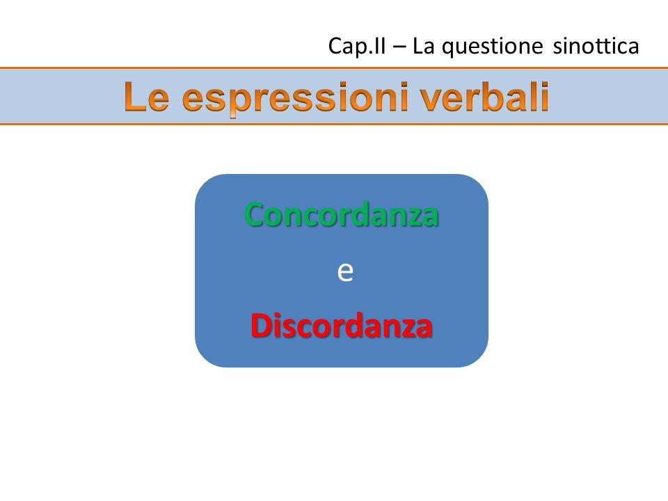 Cap.II – La questione sinottica Concordanza eDiscordanza