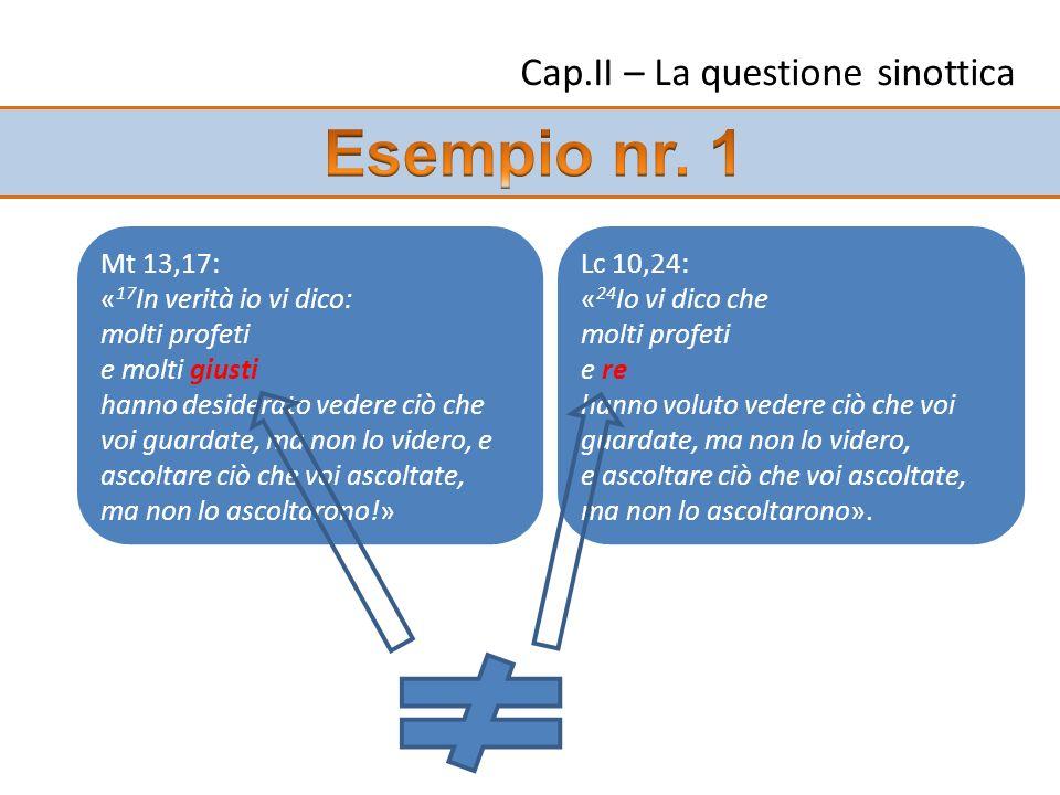 Cap.II – La questione sinottica Mt 13,17: « 17 In verità io vi dico: molti profeti e molti giusti hanno desiderato vedere ciò che voi guardate, ma non