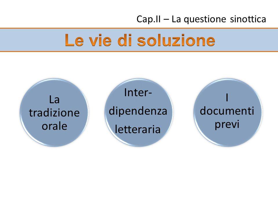 Cap.II – La questione sinottica La tradizione orale I documenti previ Inter- dipendenza letteraria