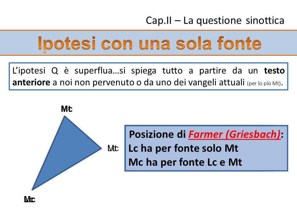 Lipotesi Q è superflua…si spiega tutto a partire da un testo anteriore a noi non pervenuto o da uno dei vangeli attuali (per lo più Mt). Mc Mt Lc Posi