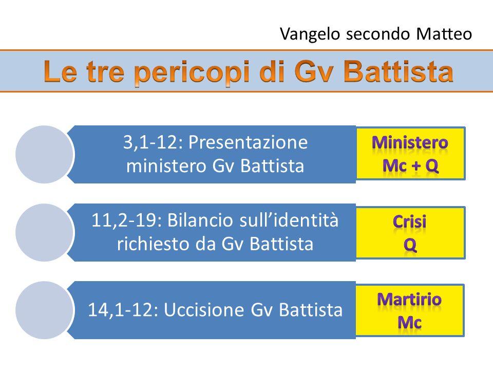 3,1-12: Presentazione ministero Gv Battista 11,2-19: Bilancio sullidentità richiesto da Gv Battista 14,1-12: Uccisione Gv Battista