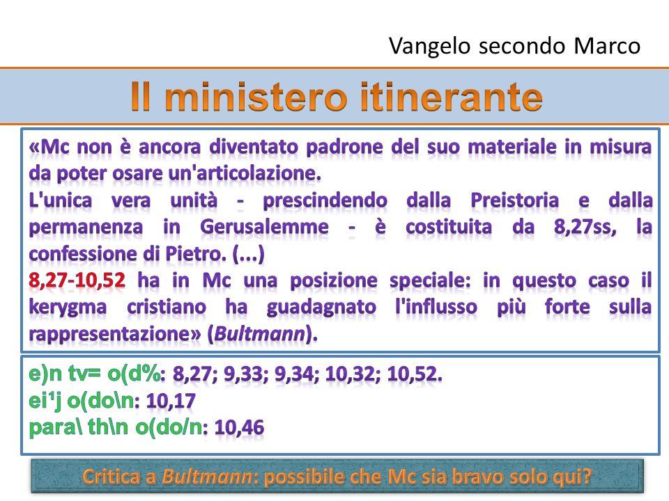 Ministero in Galilea (1,14-3,6) Ministero presso il mare (3,7-5,43) Allargamenti del ministero (6,1-8,26) Gesù in cammino (8,27-10,52) Ministero nel Tempio (11,1-13,37)