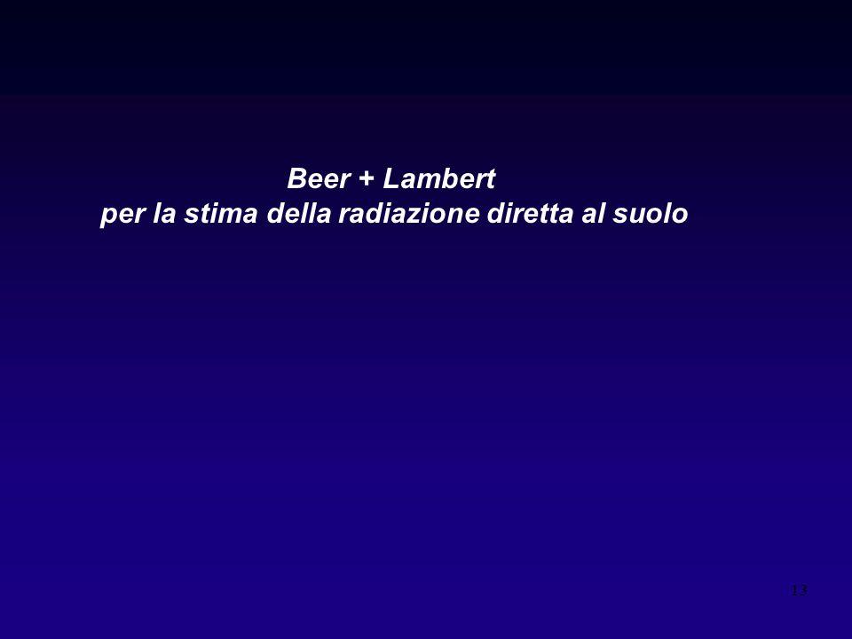 13 Beer + Lambert per la stima della radiazione diretta al suolo