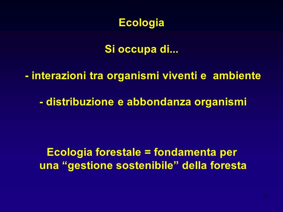 33 Ecologia Si occupa di... - interazioni tra organismi viventi e ambiente - distribuzione e abbondanza organismi Ecologia forestale = fondamenta per