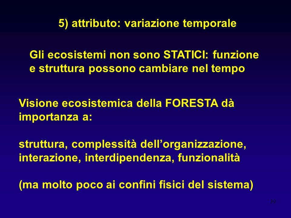 39 5) attributo: variazione temporale Gli ecosistemi non sono STATICI: funzione e struttura possono cambiare nel tempo Visione ecosistemica della FORE