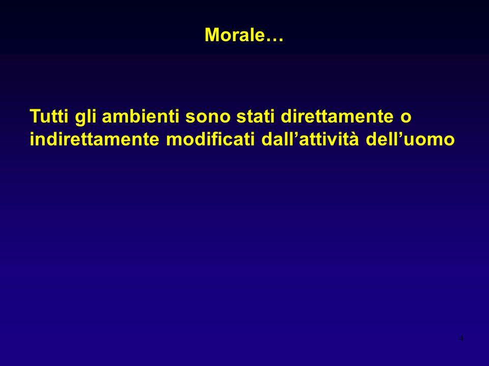 4 Tutti gli ambienti sono stati direttamente o indirettamente modificati dallattività delluomo Morale…