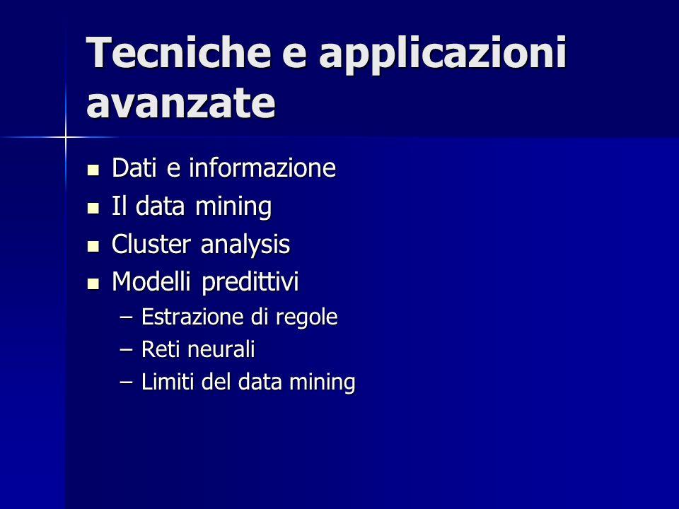 Tecniche e applicazioni avanzate Dati e informazione Dati e informazione Il data mining Il data mining Cluster analysis Cluster analysis Modelli predittivi Modelli predittivi –Estrazione di regole –Reti neurali –Limiti del data mining