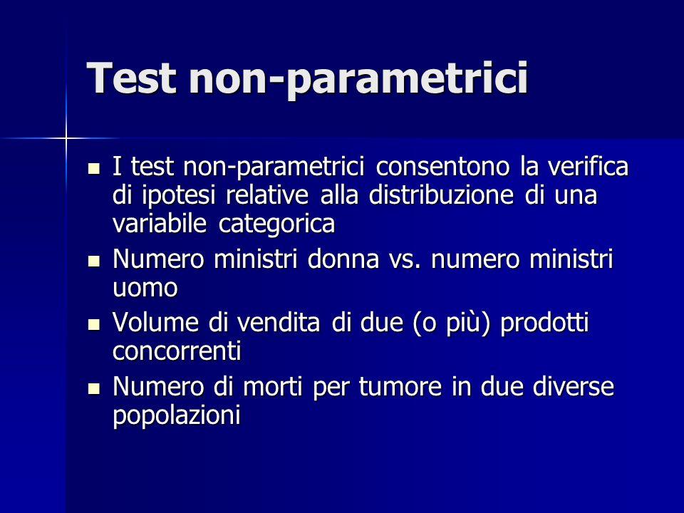 Test non-parametrici I test non-parametrici consentono la verifica di ipotesi relative alla distribuzione di una variabile categorica I test non-parametrici consentono la verifica di ipotesi relative alla distribuzione di una variabile categorica Numero ministri donna vs.