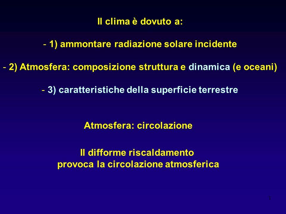1 Il clima è dovuto a: - 1) ammontare radiazione solare incidente - 2) Atmosfera: composizione struttura e dinamica (e oceani) - 3) caratteristiche della superficie terrestre Atmosfera: circolazione Il difforme riscaldamento provoca la circolazione atmosferica