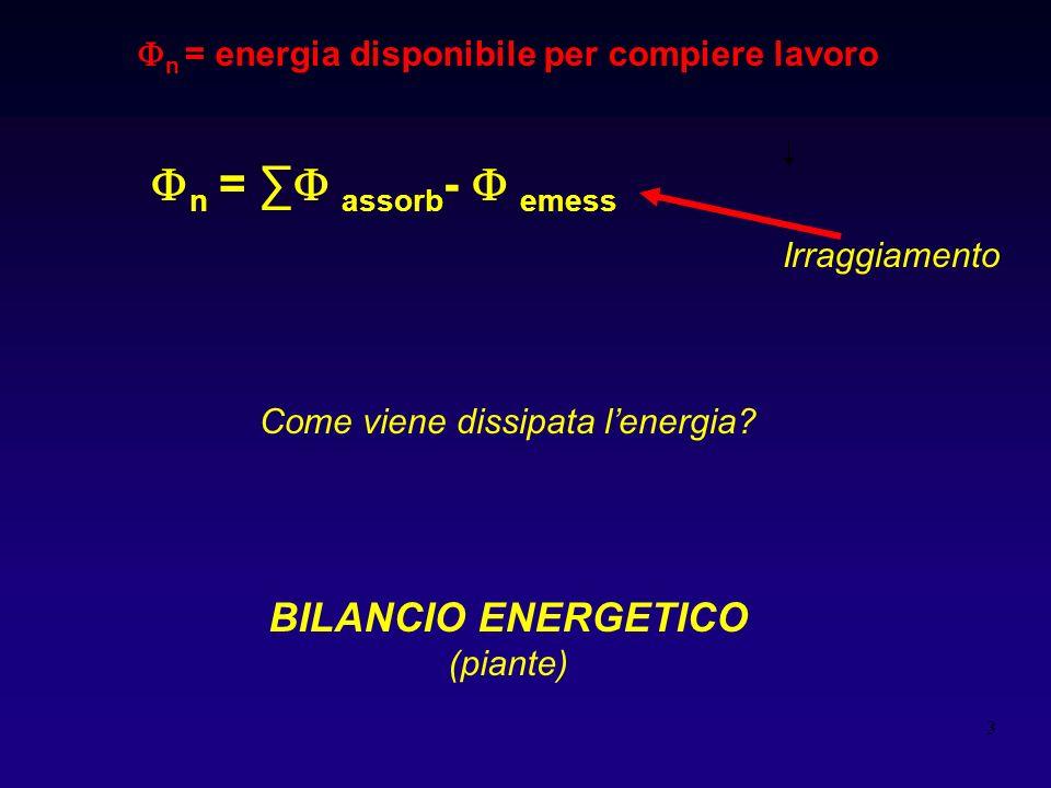 3 n = energia disponibile per compiere lavoro Come viene dissipata lenergia? BILANCIO ENERGETICO (piante) n = assorb - emess Irraggiamento