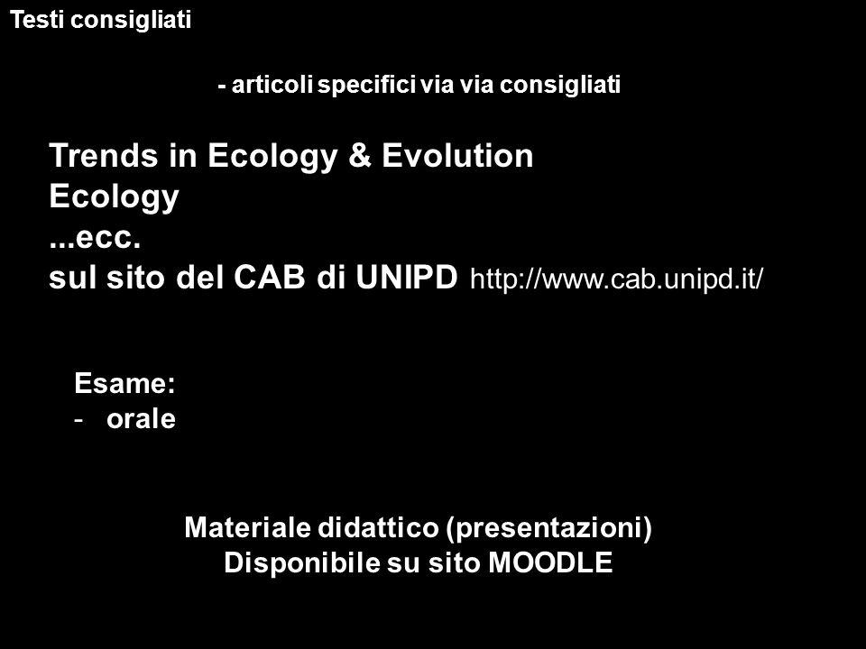 Testi consigliati - articoli specifici via via consigliati Trends in Ecology & Evolution Ecology...ecc. sul sito del CAB di UNIPD http://www.cab.unipd