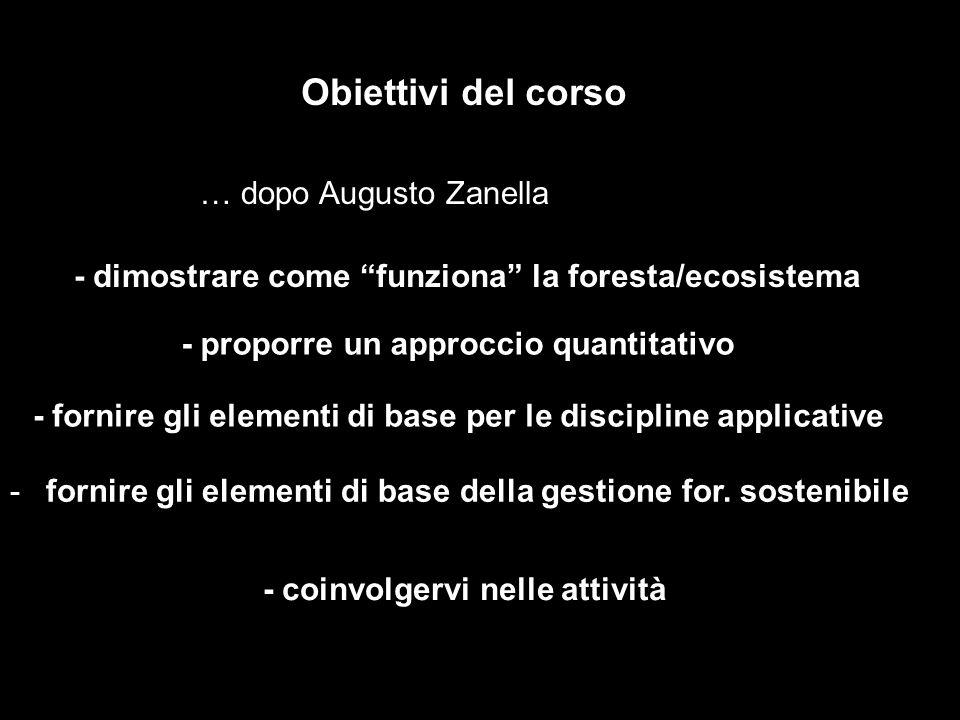 Obiettivi del corso - dimostrare come funziona la foresta/ecosistema - coinvolgervi nelle attività … dopo Augusto Zanella - proporre un approccio quan