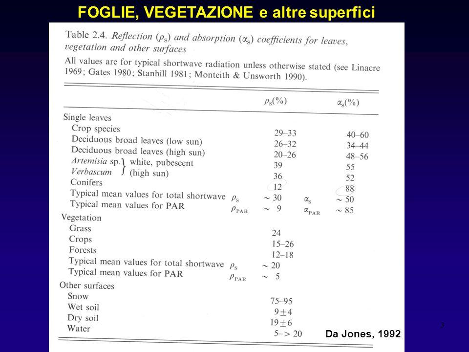 3 Tab 2,4 Jones FOGLIE, VEGETAZIONE e altre superfici Da Jones, 1992
