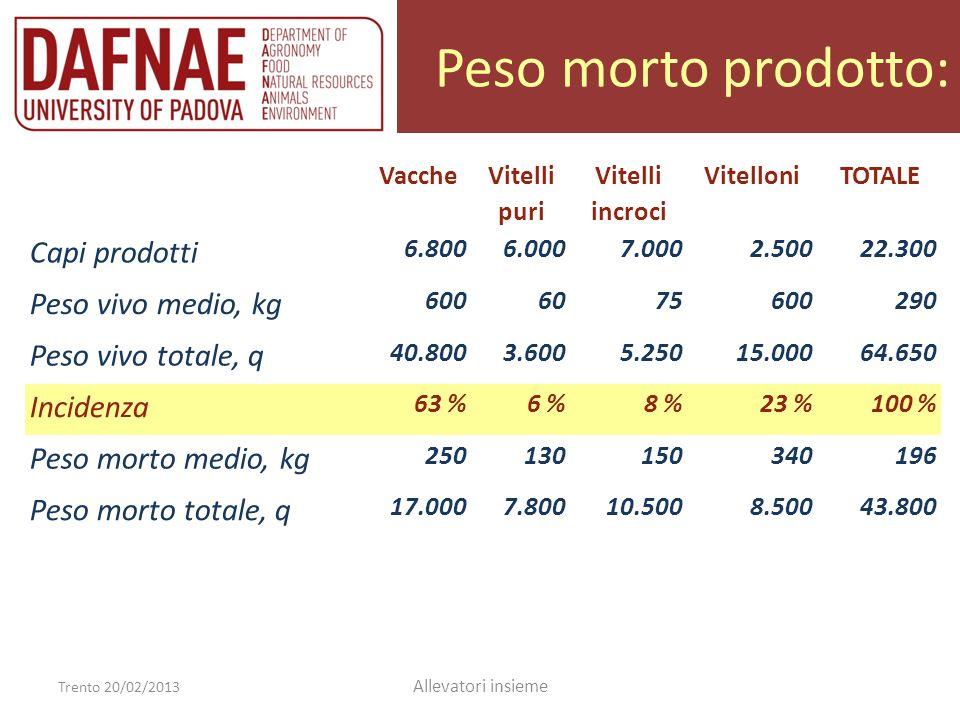 Peso morto prodotto: Trento 20/02/2013 Allevatori insieme Vacche Vitelli puri Vitelli incroci VitelloniTOTALE Capi prodotti 6.8006.0007.0002.50022.300