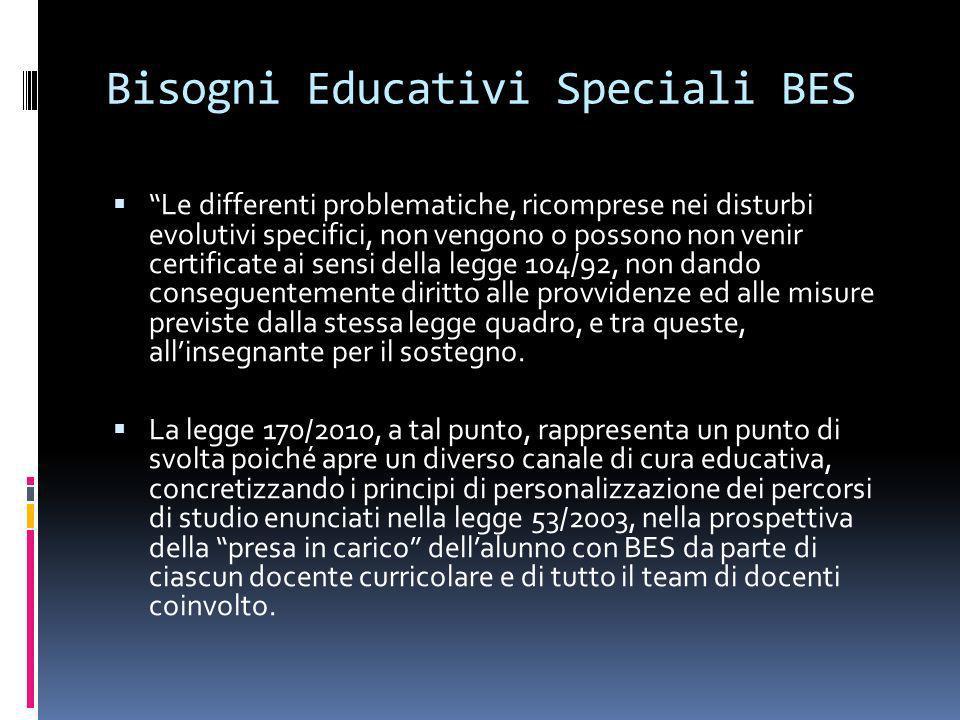 Bisogni Educativi Speciali BES Le differenti problematiche, ricomprese nei disturbi evolutivi specifici, non vengono o possono non venir certificate a