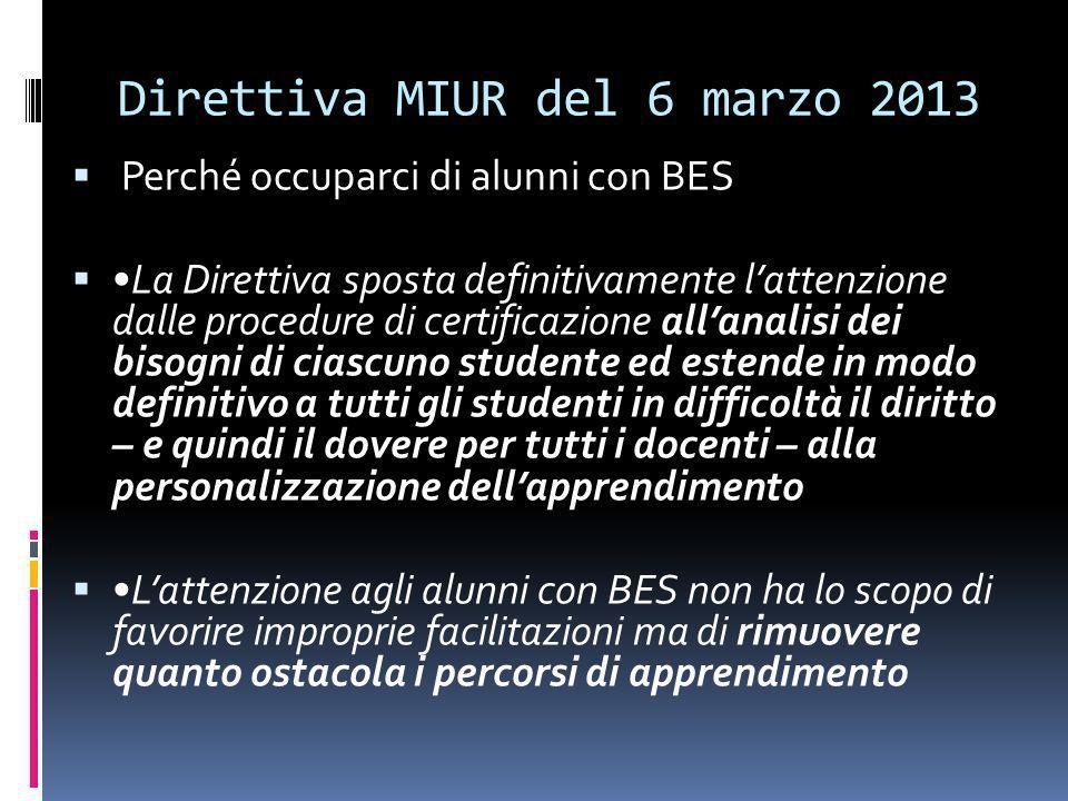 Direttiva MIUR del 6 marzo 2013 Perché occuparci di alunni con BES La Direttiva sposta definitivamente lattenzione dalle procedure di certificazione a