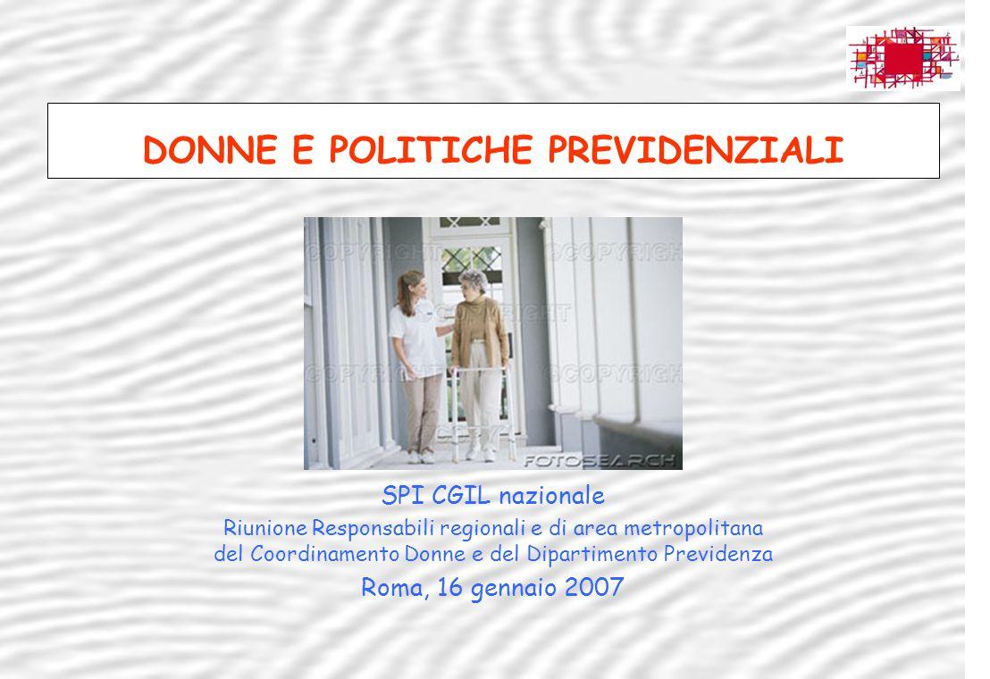 1 Sindacato Pensionati Italiani – Dipartimento previdenza SPI CGIL nazionale Riunione Responsabili regionali e di area metropolitana del Coordinamento
