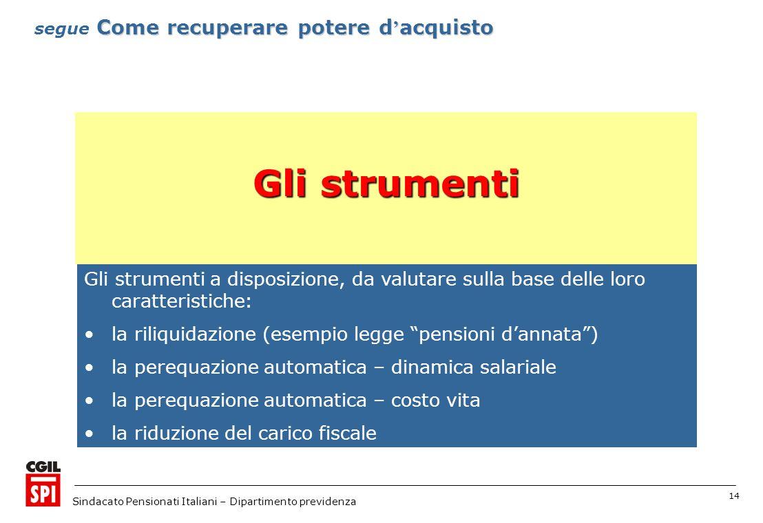14 Sindacato Pensionati Italiani – Dipartimento previdenza Gli strumenti a disposizione, da valutare sulla base delle loro caratteristiche: la riliqui