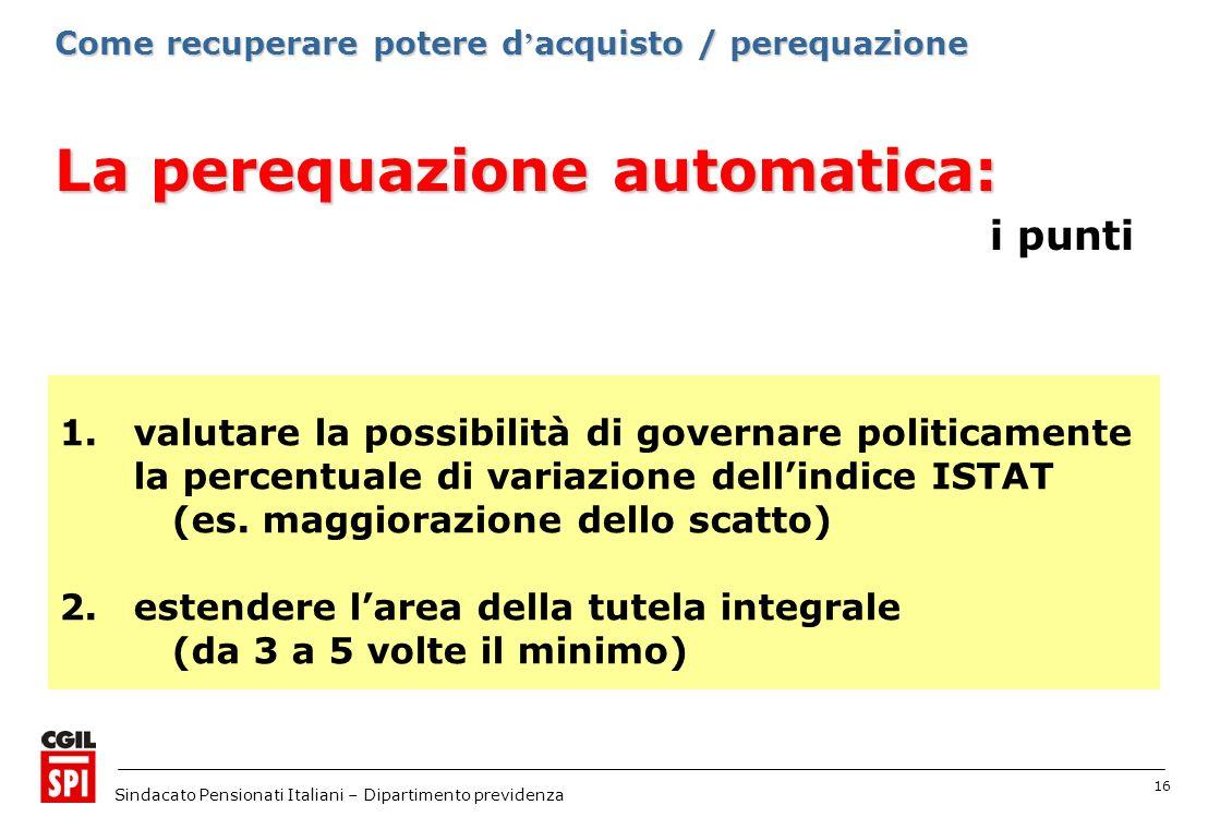16 Sindacato Pensionati Italiani – Dipartimento previdenza La perequazione automatica: La perequazione automatica: i punti 1.valutare la possibilità d