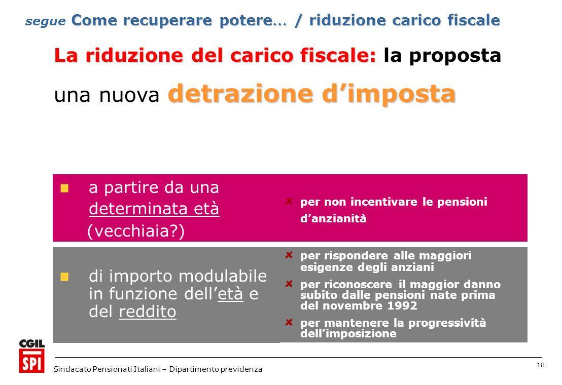 18 Sindacato Pensionati Italiani – Dipartimento previdenza detrazione dimposta una nuova detrazione dimposta a partire da una determinata età (vecchia
