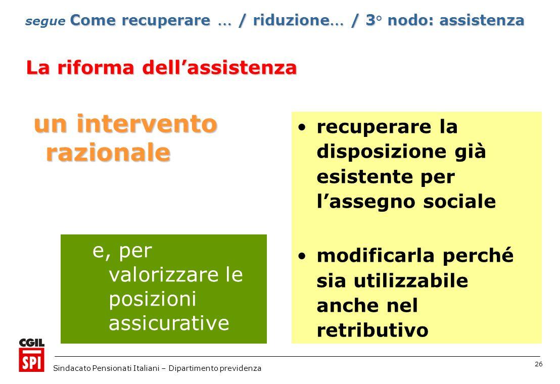 26 Sindacato Pensionati Italiani – Dipartimento previdenza un intervento razionale e, per valorizzare le posizioni assicurative Come recuperare … / ri