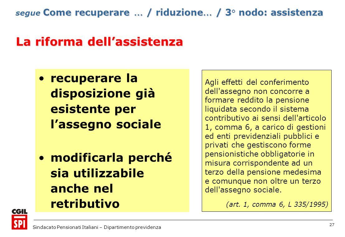 27 Sindacato Pensionati Italiani – Dipartimento previdenza recuperare la disposizione già esistente per lassegno sociale modificarla perché sia utiliz