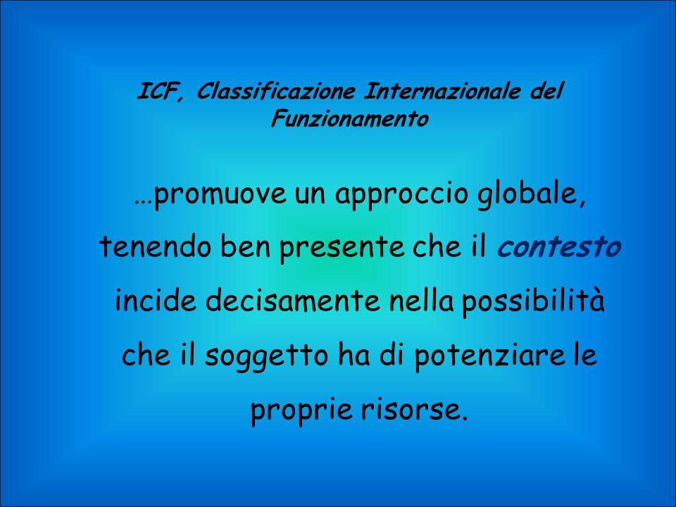 ICF, Classificazione Internazionale del Funzionamento …promuove un approccio globale, tenendo ben presente che il contesto incide decisamente nella possibilità che il soggetto ha di potenziare le proprie risorse.