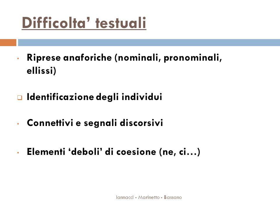 Difficolta testuali Iannacci - Marinetto - Bassano Riprese anaforiche (nominali, pronominali, ellissi) Identificazione degli individui Connettivi e se