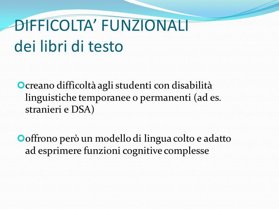 DIFFICOLTA FUNZIONALI dei libri di testo creano difficoltà agli studenti con disabilità linguistiche temporanee o permanenti (ad es. stranieri e DSA)