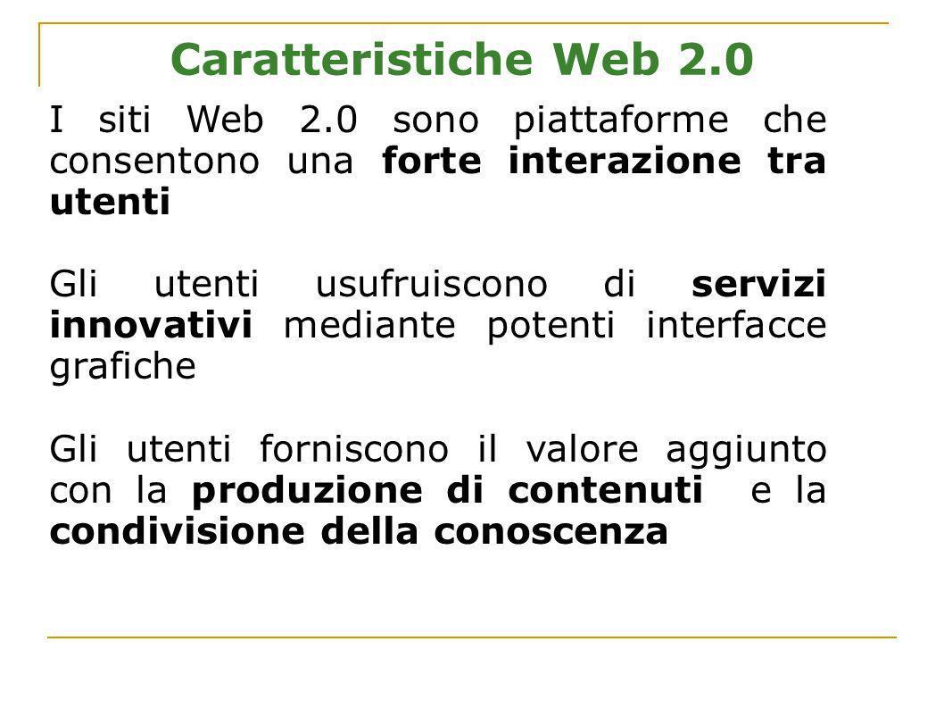 Caratteristiche Web 2.0 I siti Web 2.0 sono piattaforme che consentono una forte interazione tra utenti Gli utenti usufruiscono di servizi innovativi