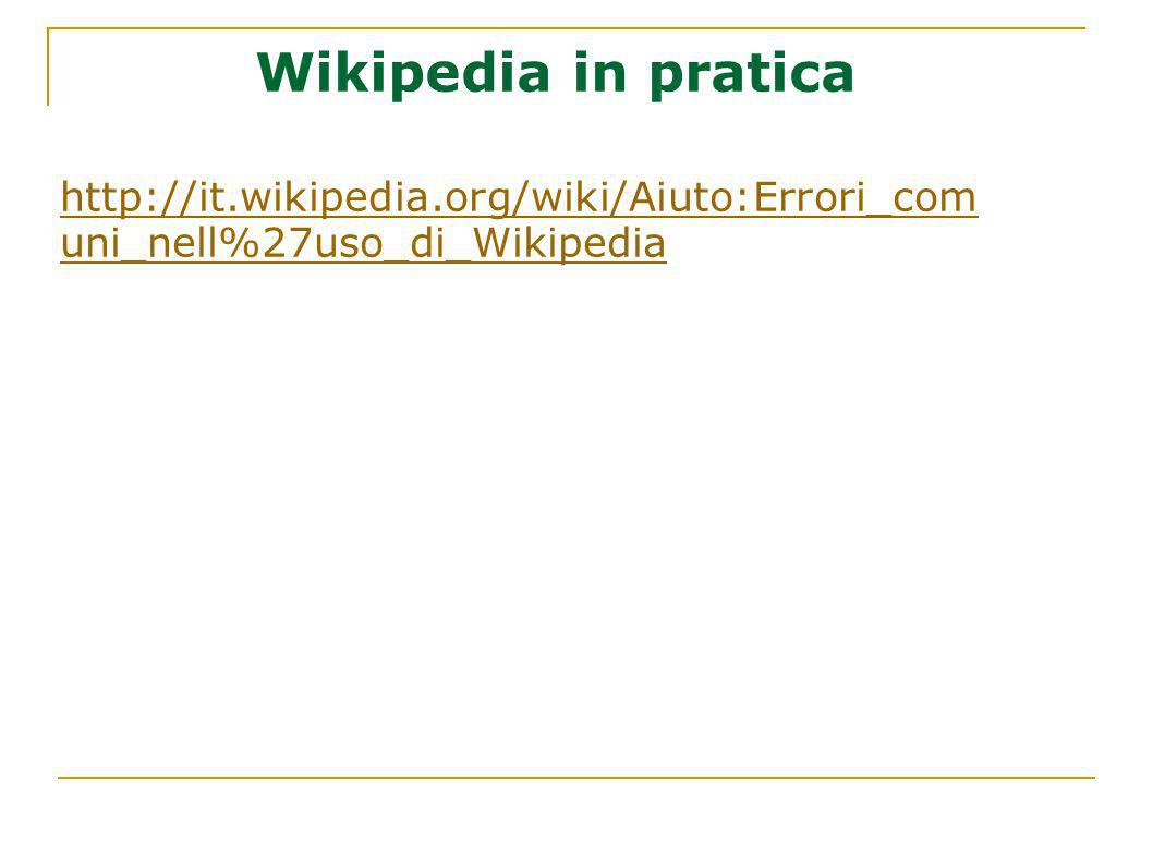Wikipedia in pratica http://it.wikipedia.org/wiki/Aiuto:Errori_com uni_nell%27uso_di_Wikipedia
