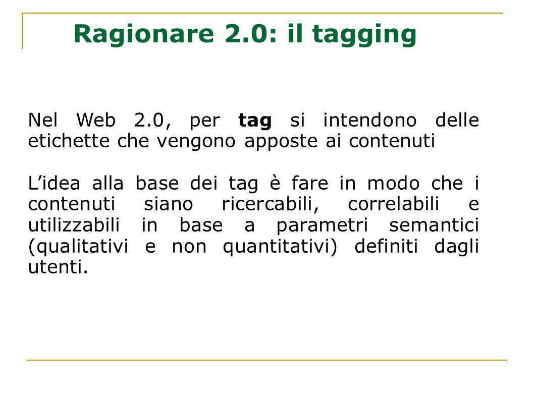 Nel Web 2.0, per tag si intendono delle etichette che vengono apposte ai contenuti Lidea alla base dei tag è fare in modo che i contenuti siano ricerc