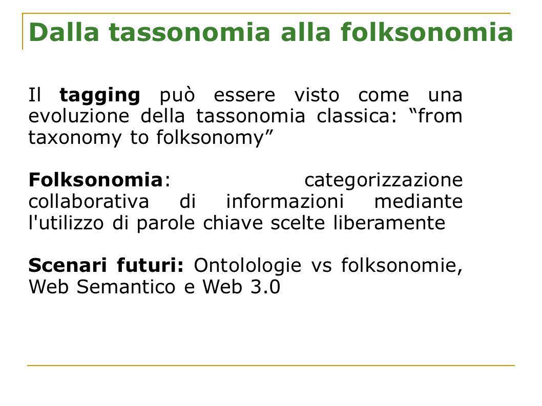 Dalla tassonomia alla folksonomia Il tagging può essere visto come una evoluzione della tassonomia classica: from taxonomy to folksonomy Folksonomia: