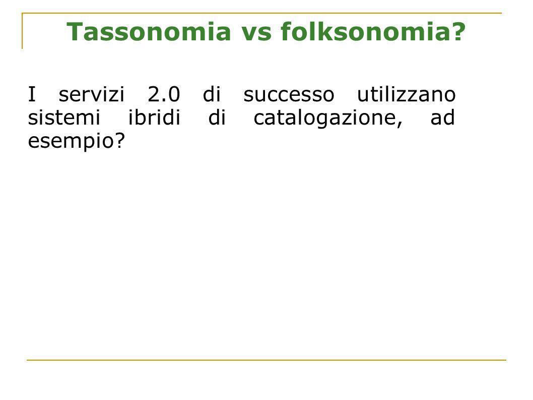 Tassonomia vs folksonomia? I servizi 2.0 di successo utilizzano sistemi ibridi di catalogazione, ad esempio?