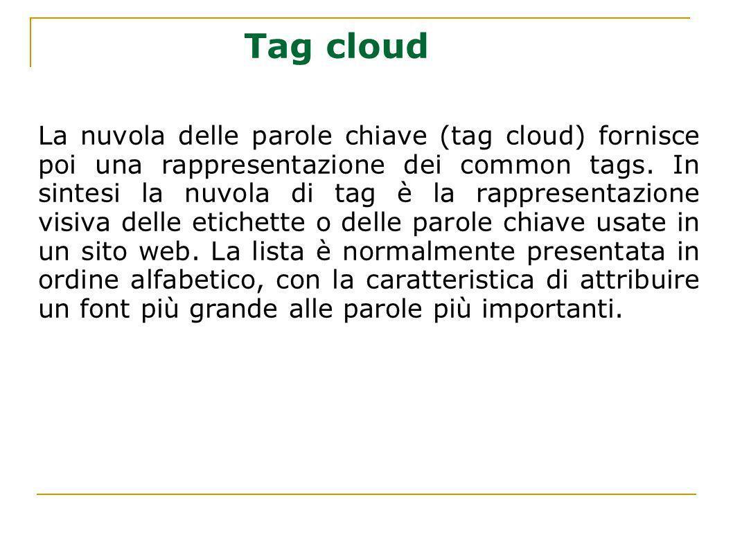 La nuvola delle parole chiave (tag cloud) fornisce poi una rappresentazione dei common tags. In sintesi la nuvola di tag è la rappresentazione visiva