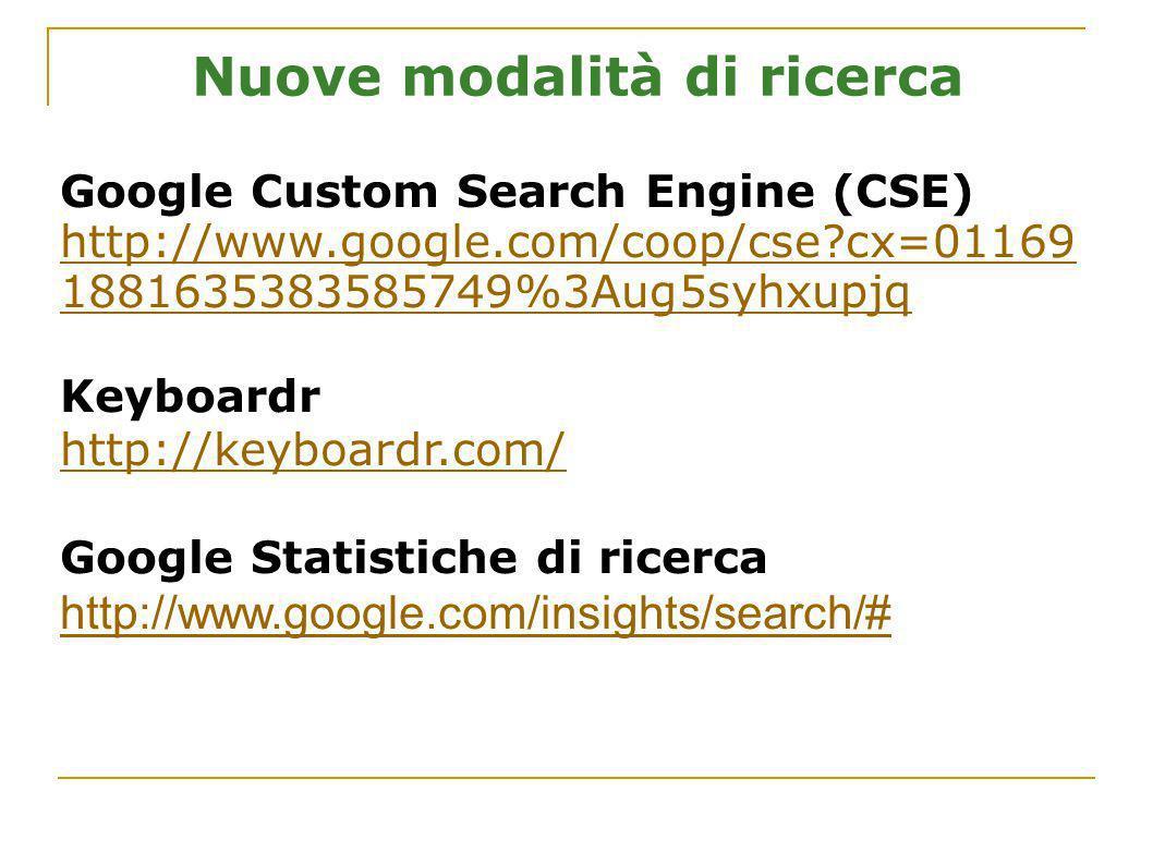 Nuove modalità di ricerca Google Custom Search Engine (CSE) http://www.google.com/coop/cse?cx=01169 1881635383585749%3Aug5syhxupjq Keyboardr http://ke