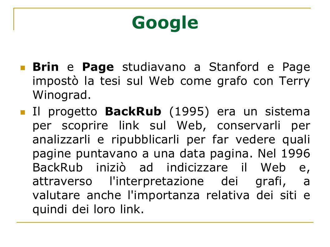 Google Brin e Page studiavano a Stanford e Page impostò la tesi sul Web come grafo con Terry Winograd. Il progetto BackRub (1995) era un sistema per s