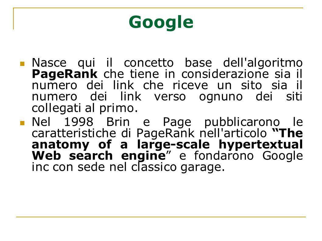 Google Nasce qui il concetto base dell'algoritmo PageRank che tiene in considerazione sia il numero dei link che riceve un sito sia il numero dei link