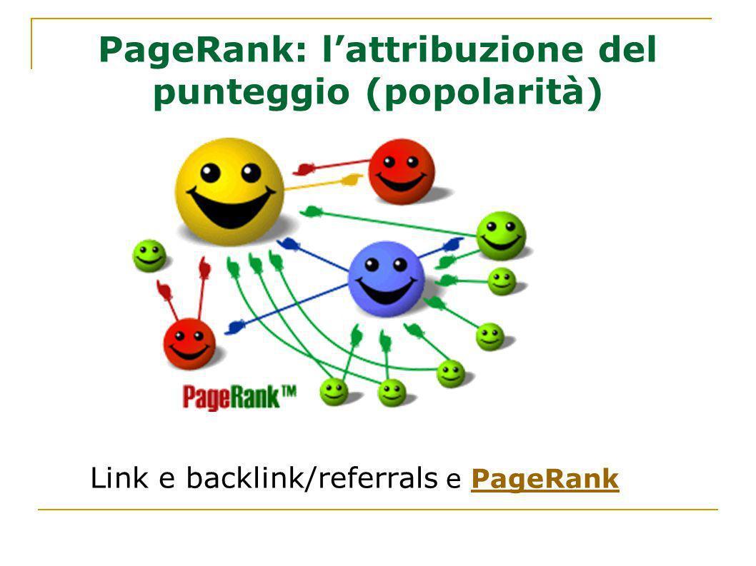PageRank: lattribuzione del punteggio (popolarità) Link e backlink/referrals e PageRankPageRank