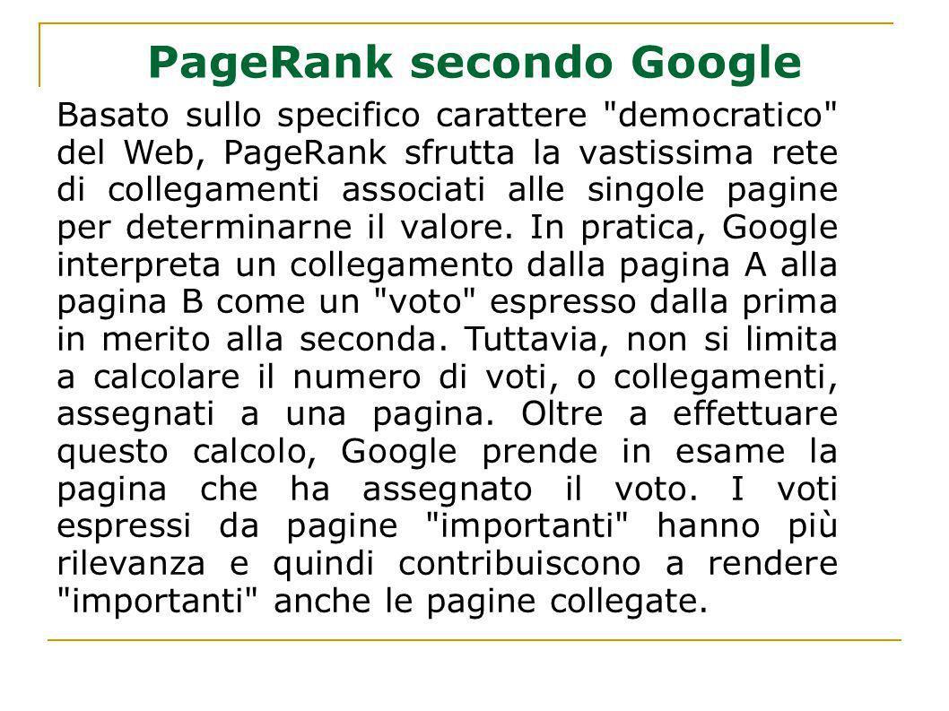 PageRank secondo Google Basato sullo specifico carattere