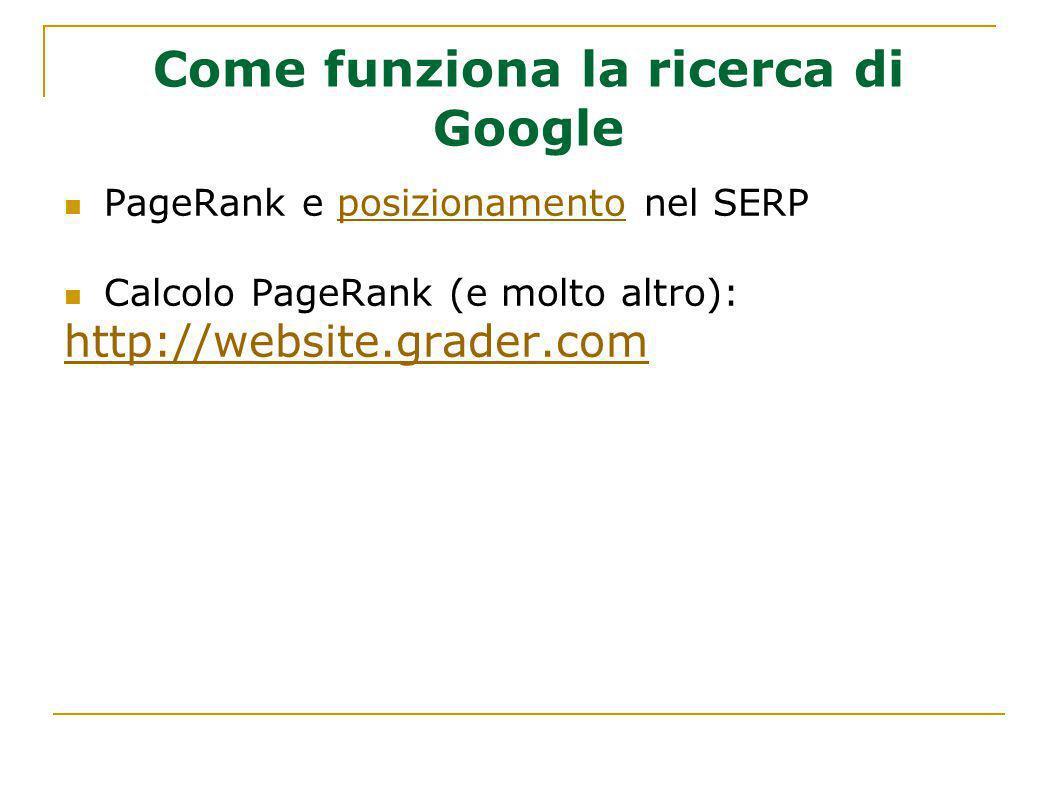Come funziona la ricerca di Google PageRank e posizionamento nel SERPposizionamento Calcolo PageRank (e molto altro): http://website.grader.com