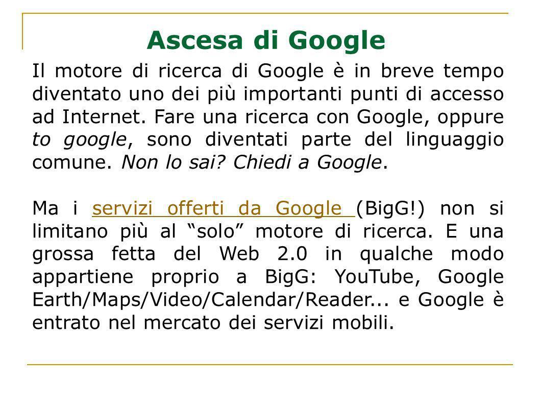 Il motore di ricerca di Google è in breve tempo diventato uno dei più importanti punti di accesso ad Internet. Fare una ricerca con Google, oppure to